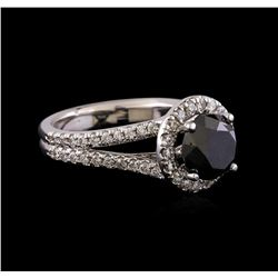 3.58 ctw Black Diamond Ring - 14KT White Gold