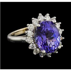 7.13 ctw Tanzanite and Diamond Ring - 14KT White Gold