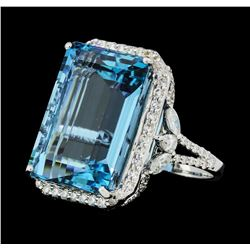 21.47 ctw Aquamarine And Diamond Ring - 18KT White Gold