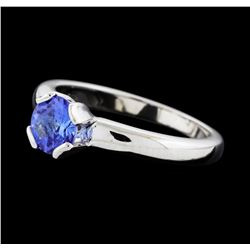 0.68 ctw Tanzanite Ring - 14KT White Gold