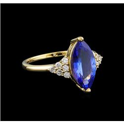 14KT Yellow Gold 2.78 ctw Tanzanite and Diamond Ring