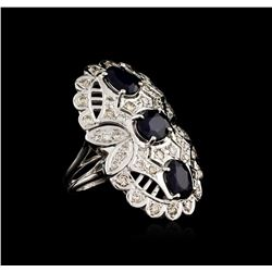 14KT White Gold 3.54 ctw Sapphire and Diamond Ring