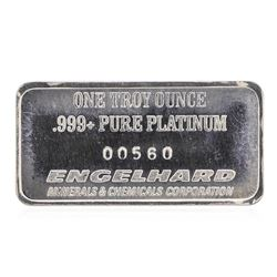 1 oz .999 Pure Platinum Bar