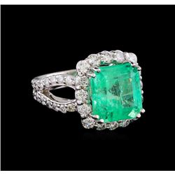 6.65 ctw Emerald and Diamond Ring - 14KT White Gold