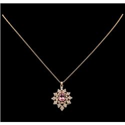 1.32 ctw Tourmaline and Diamond Pendant With Chain - 14KT Rose Gold
