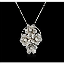 14KT White Gold 1.37 ctw Diamond Pendant With Chain