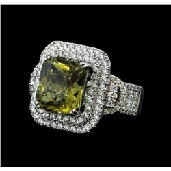 9.71 ctw Yellow Sapphire and Diamond Ring - 14KT White Gold