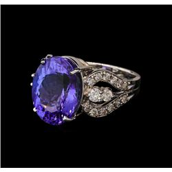 11.24 ctw Tanzanite and Diamond Ring - 14KT White Gold