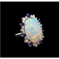 13.66 ctw Opal, Sapphire and Diamond Ring - 14KT White Gold