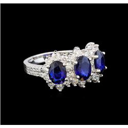 14KT White Gold 3.00 ctw Sapphire and Diamond Ring