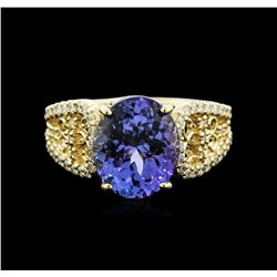 14KT Yellow Gold 4.98 ctw Tanzanite and Diamond Ring
