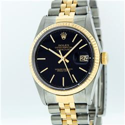 Rolex Mens Two Tone Black Tapestry Index Dial Datejust Wristwatch