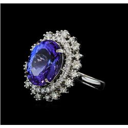 8.11 ctw Tanzanite and Diamond Ring - 14KT White Gold