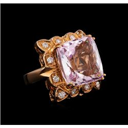 14KT Rose Gold GIA Certified 25.19 ctw Kunzite and Diamond Ring