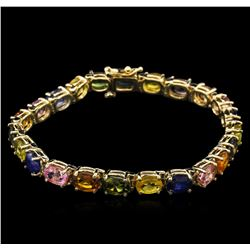 23.50 ctw Multi Color Sapphire Bracelet - 14KT Yellow Gold