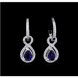 1.88 ctw Blue Sapphire and Diamond Earrings - 14KT White Gold