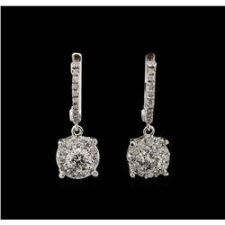 14KT White Gold 1.03 ctw Diamond Earrings