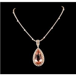 14KT Rose Gold GIA Certified 42.02 ctw Morganite and Diamond Pendant With Chain