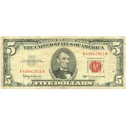 1963 $5 VG/XF Red Seal Note