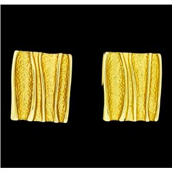 Ridged Style Rectangle Earrings - Gold Plated