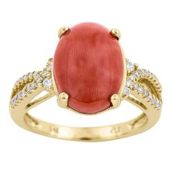 3.92 ctw Coral and Diamond Ring - 14KT Yellow Gold