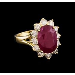 GIA Cert 6.10 ctw Ruby and Diamond Ring - 14KT Yellow Gold
