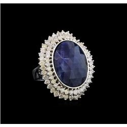 14KT White Gold 15.08 ctw Sapphire and Diamond Ring