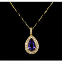 3.50 ctw Tanzanite and Diamond Pendant - 14KT Yellow Gold