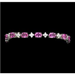 13.62 ctw Pink Sapphire And Diamond Bracelet - 18KT White Gold