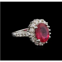 4.70 ctw Ruby and Diamond Ring - 14KT White Gold