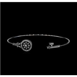 CZ Key Open Bangle Bracelet - Black Rhodium Plated