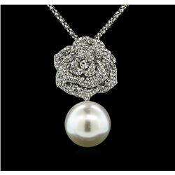 25mm Seashell Crystal Rose Pendant - Silver Plated
