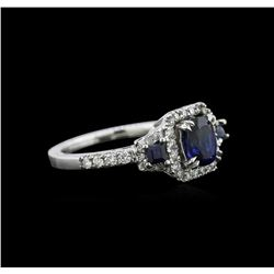 0.83 ctw Sapphire and Diamond Ring - 14KT White Gold
