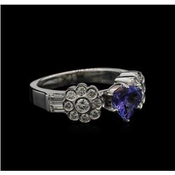 0.93 ctw Tanzanite and Diamond Ring - 18KT White Gold