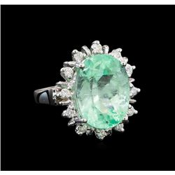 GIA Cert 9.92 ctw Emerald and Diamond Ring - 14KT White Gold