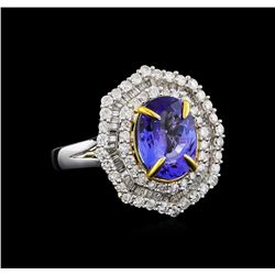 14KT Two-Tone Gold 2.63 ctw Tanzanite and Diamond Ring