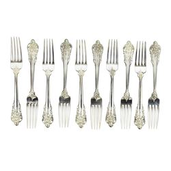 "Wallace Grande Baroque Sterling Silver Luncheon Forks 7.5"" Set of 10"