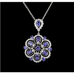 14KT White Gold 6.13 ctw Tanzanite and Diamond Pendant With Chain