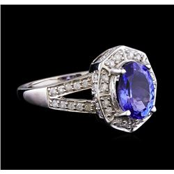 1.79 ctw Tanzanite and Diamond Ring - 14KT White Gold