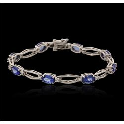 14KT White Gold 6.24 ctw Tanzanite and Diamond Bracelet