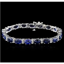 14KT White Gold 17.15 ctw Sapphire and Diamond Bracelet