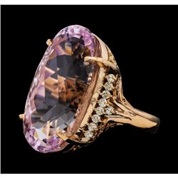 31.94 ctw Kunzite and Diamond Ring - 14KT Rose Gold