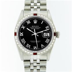 Rolex Stainless Steel Black Roman Diamond and Ruby DateJust Men's Watch