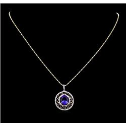 14KT Two-Tone Gold 4.32 ctw Tanzanite and Diamond Pendant With Chain