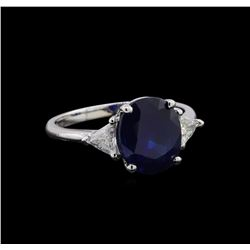 3.53 ctw Sapphire and Diamond Ring - 14KT White Gold