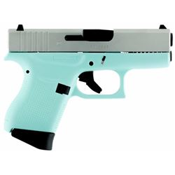 "Glock UI4350204 G43 Subcompact Double 9mm Luger 3.39"" 6+1 Robin Egg Blue Polymer Grip/Frame Grip Sil"
