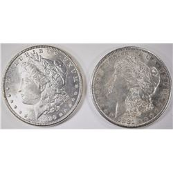 1881-S & 1886 CHOICE BU MORGAN SILVER DOLLARS