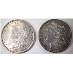 1882 & 1883 CHOICE BU MORGAN SILVER DOLLARS
