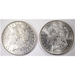 1883 & 1886 CHOICE BU MORGAN SILVER DOLLARS