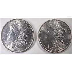 1887 & 1897 CHOICE BU MORGAN SILVER DOLLARS